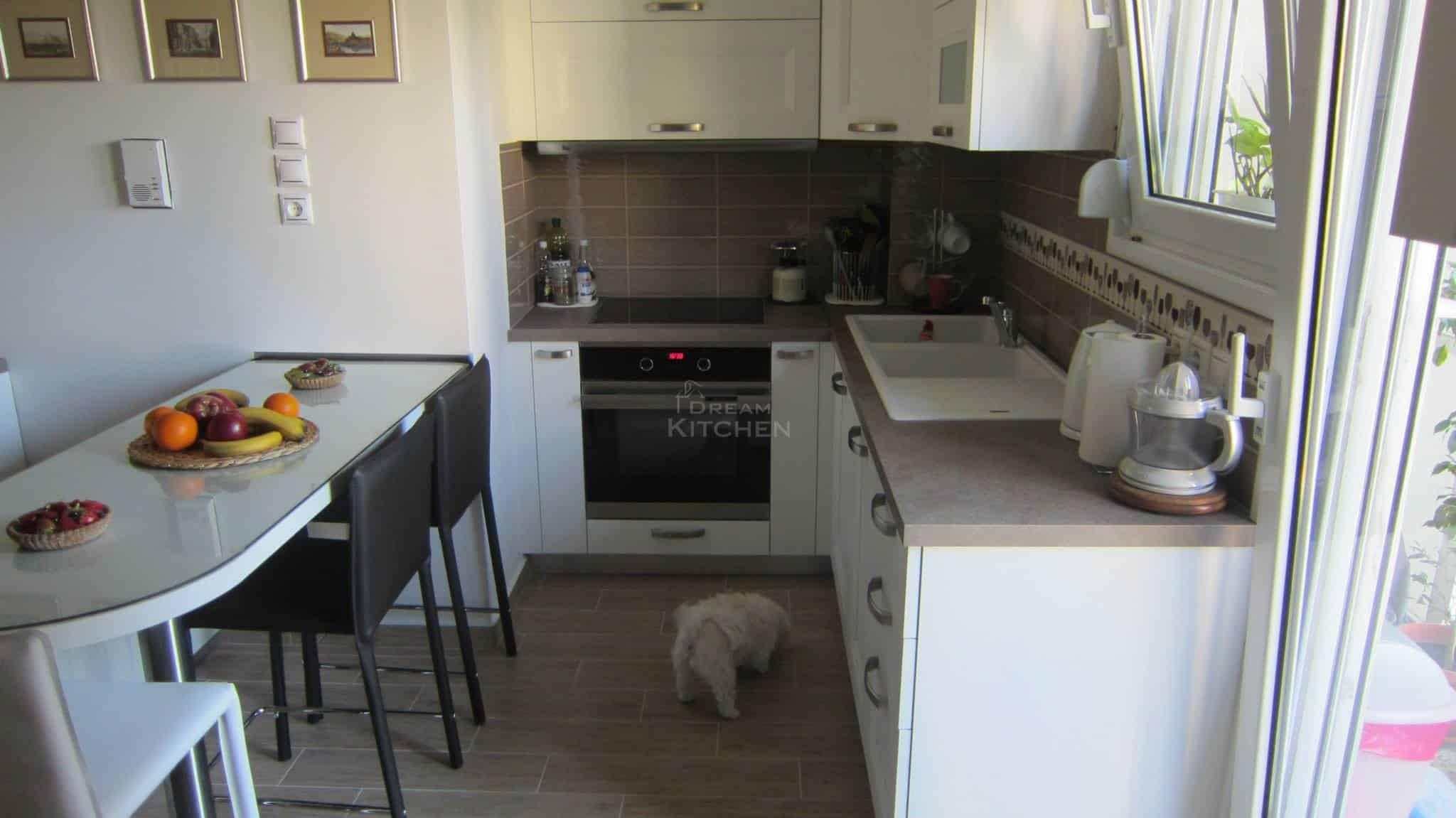 Κουζινα Πολυμερικο σε λευκο χρωματισμο 4