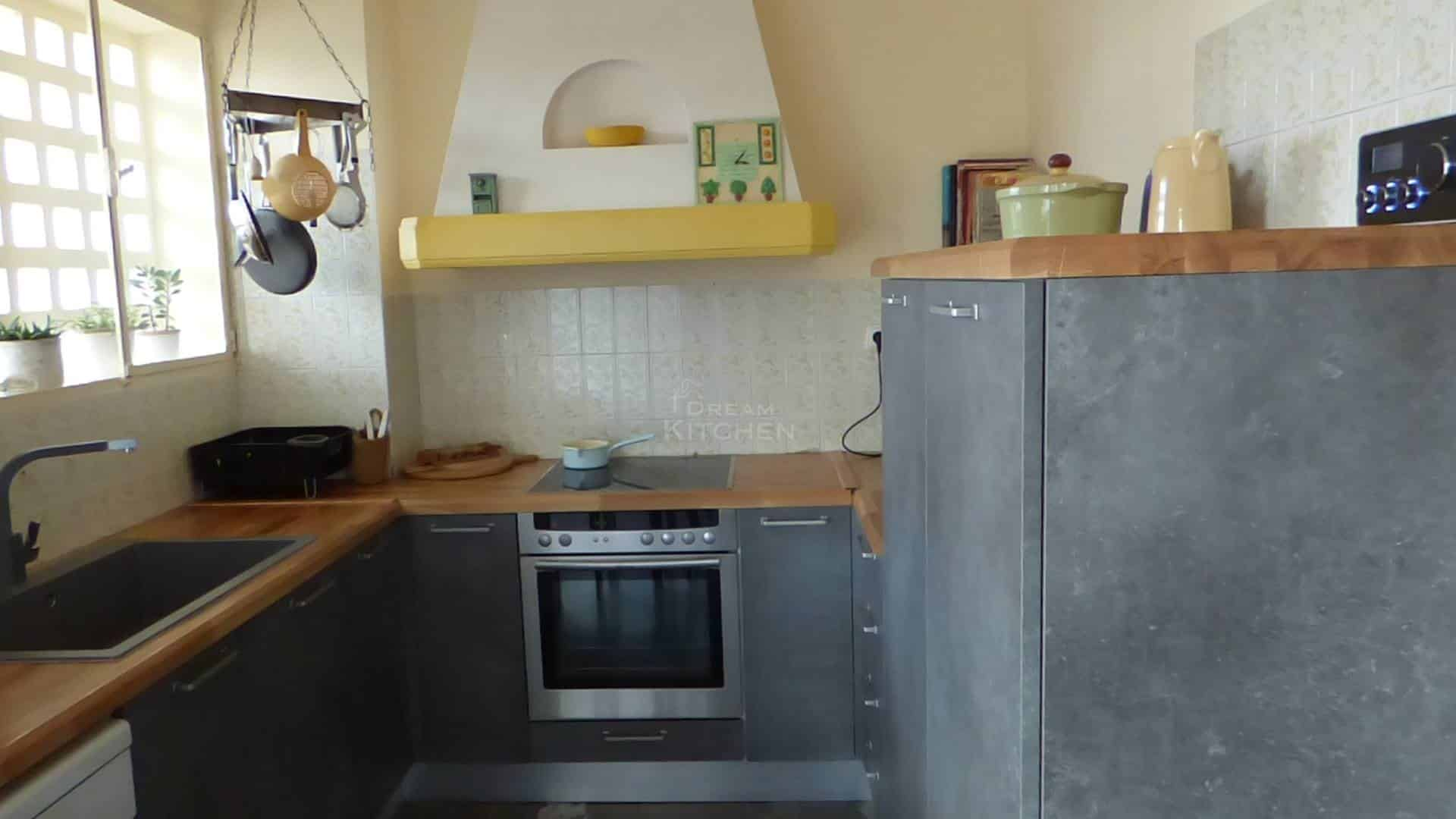 Κουζινα Τσιμεντενια με Μασιφ Παγκο 40