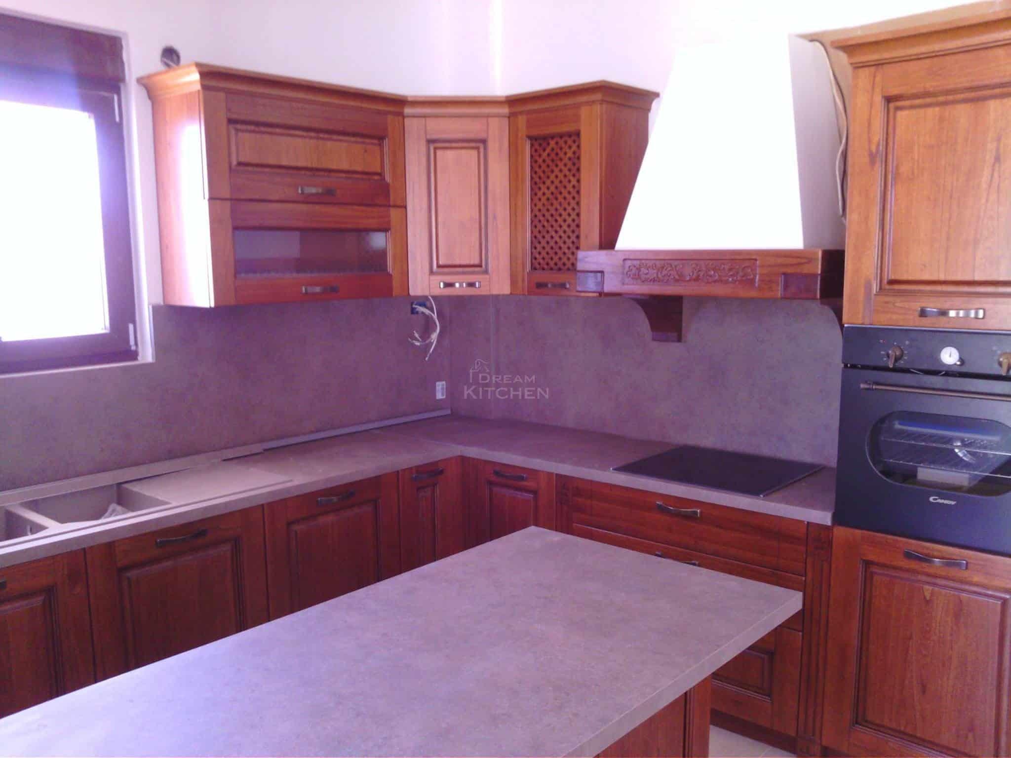 Επιπλα Κουζινας Μασιφ Ξυλο σε χρωματισμο Καστανια 4
