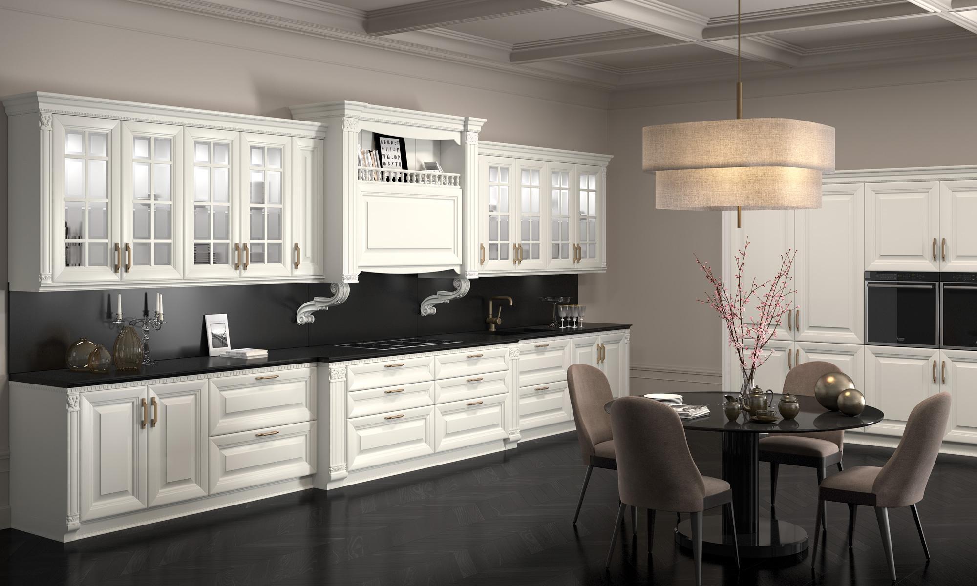 Στρογγυλα πορτακια κουζινας Λευκή ματ κουζίνα με σκαλίσματα και μαύρο