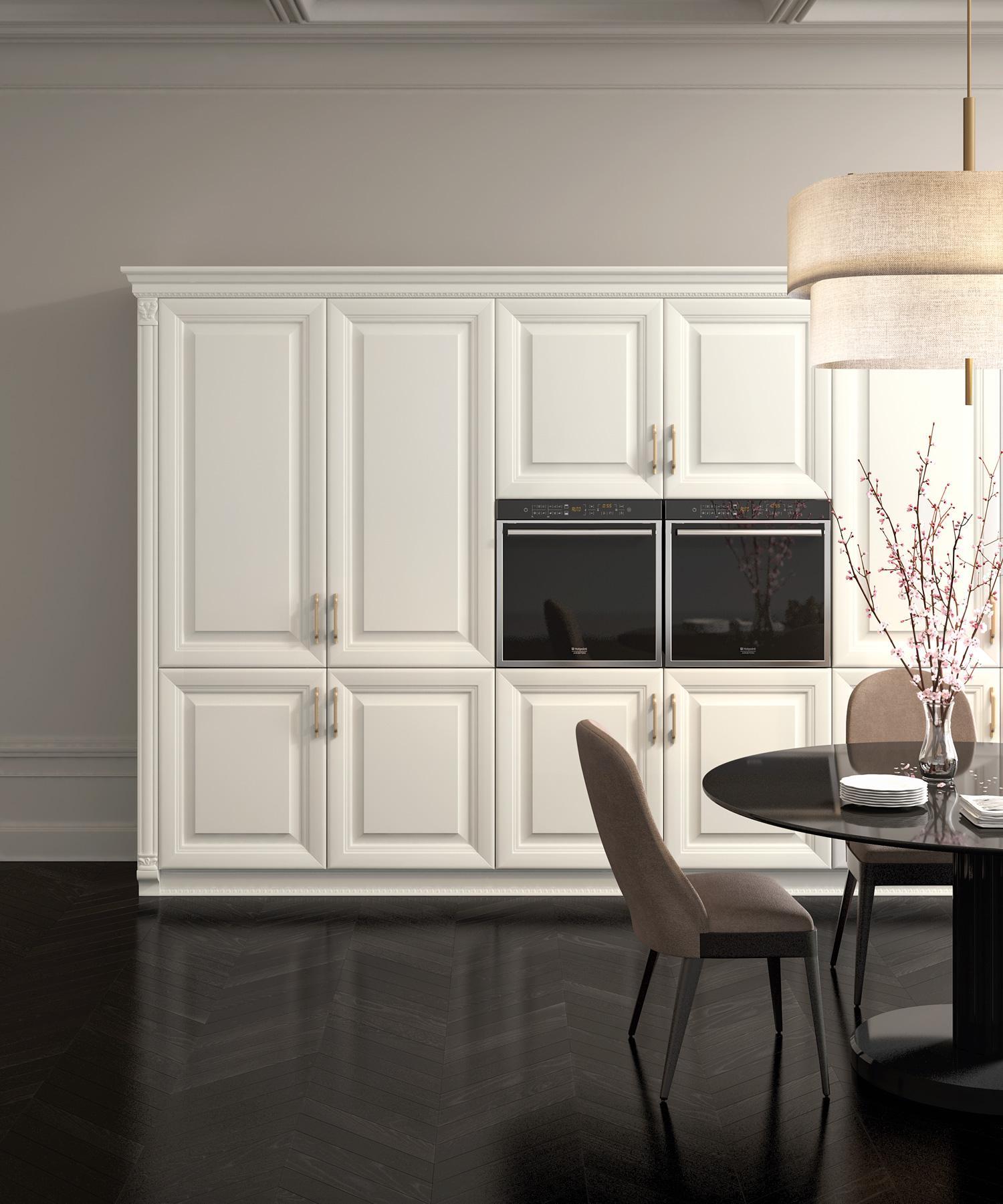 Λευκή ματ κουζίνα με σκαλίσματα κολόνες συσκευών