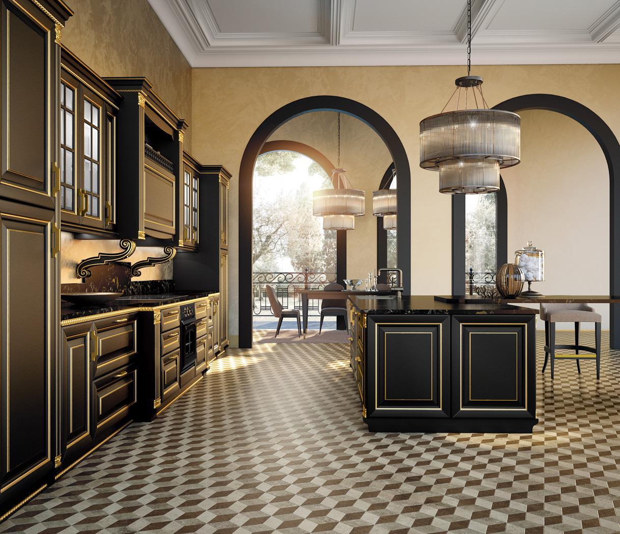 Μαύρη κουζίνα με χρυσή πατίνα σε κλασσικό ύφος