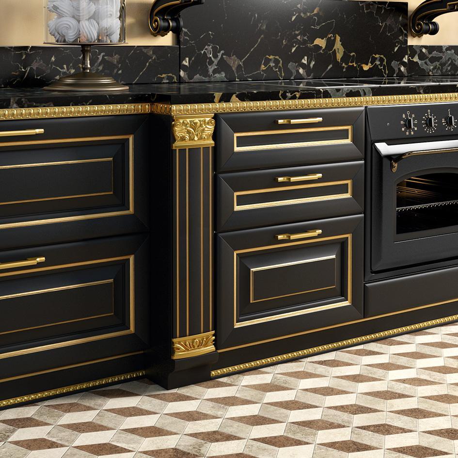 Μαύρη κουζίνα με χρυσές λεπτομέρειες