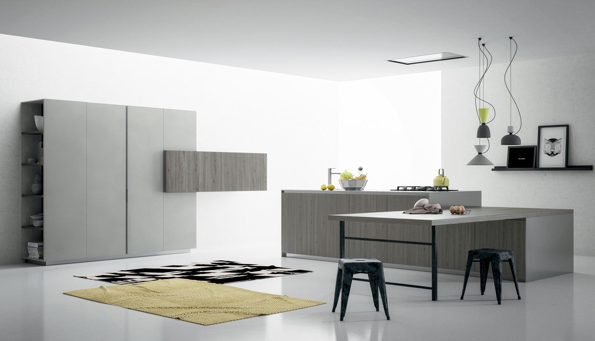Κουζίνα Fibra cemento πατητή τσιμεντοκονία και πάγκο ανοξείδωτο ατσάλι και υφή ξύλου HPL