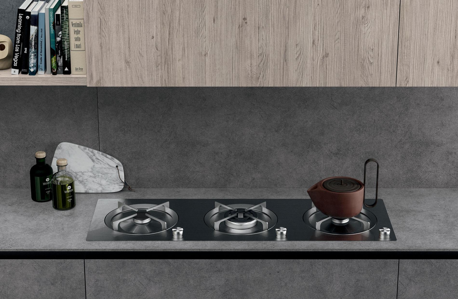 Κουζίνα Laminato HPL argento και πάγκος Laminato HPL argento και Laminato HPL Lenox