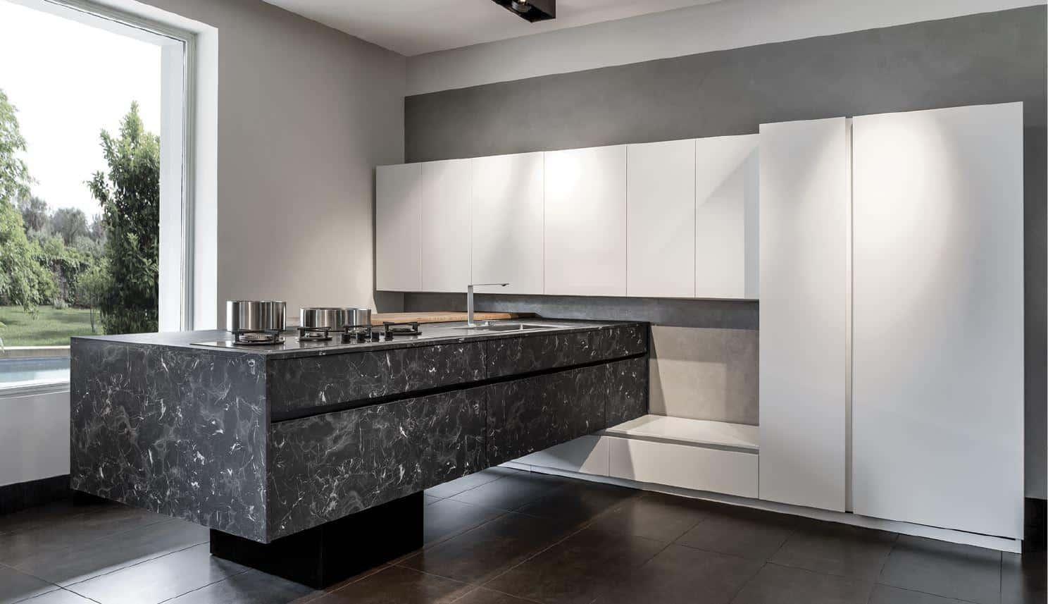 Κουζίνα βακελίτη HPL με πόρτα και πάγκο κουζίνας Black Rock και λευκή ματ λάκα