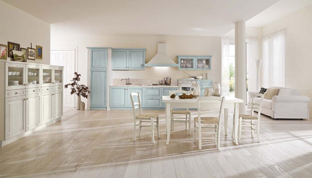 κουζινα με ντεκαπε βαφη Γαλάζιο χρωματισμό κουζίνας χτιστή