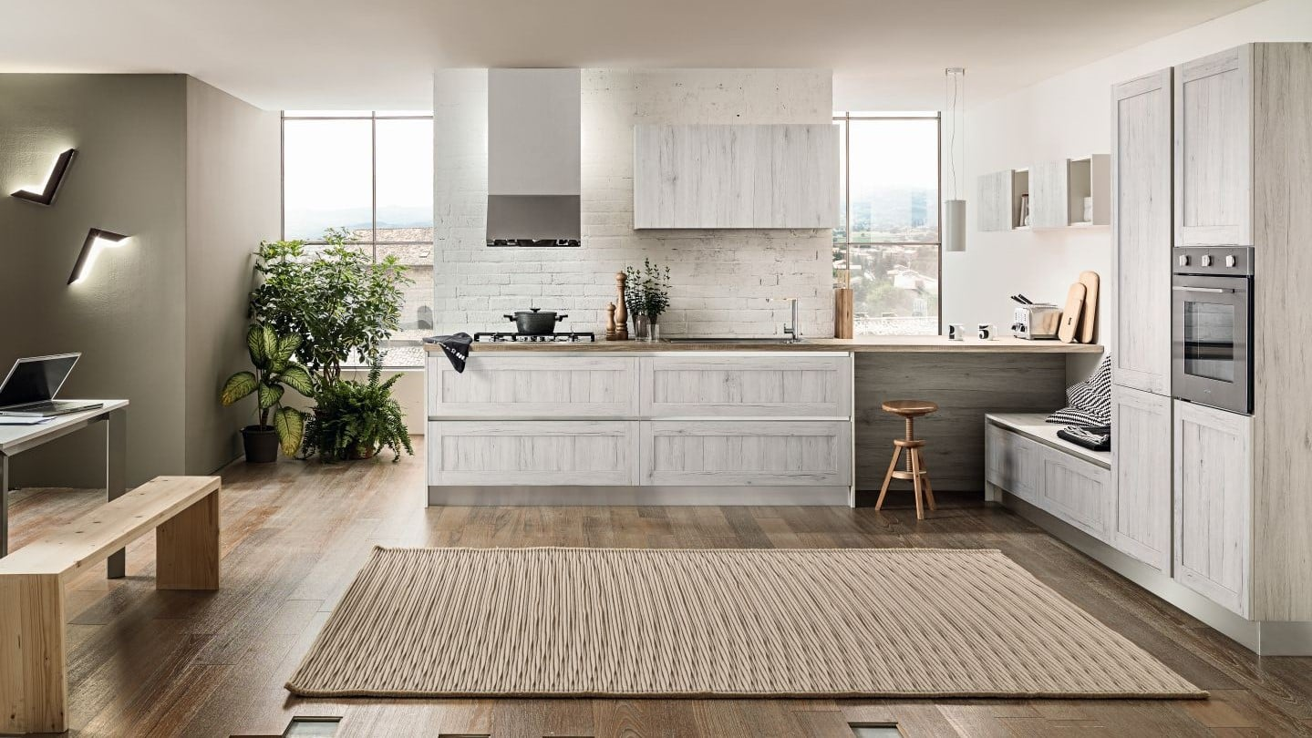Κουζίνα με τελαρο σε χρωματισμό Λευκό
