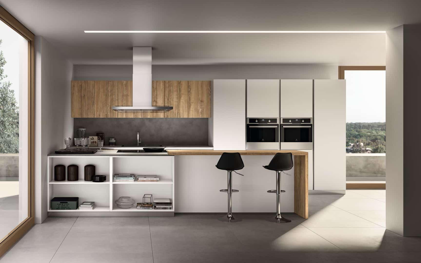 Κουζινα PET supermat σε υφή ξύλου και λευκή λάκα ματ ral 9003