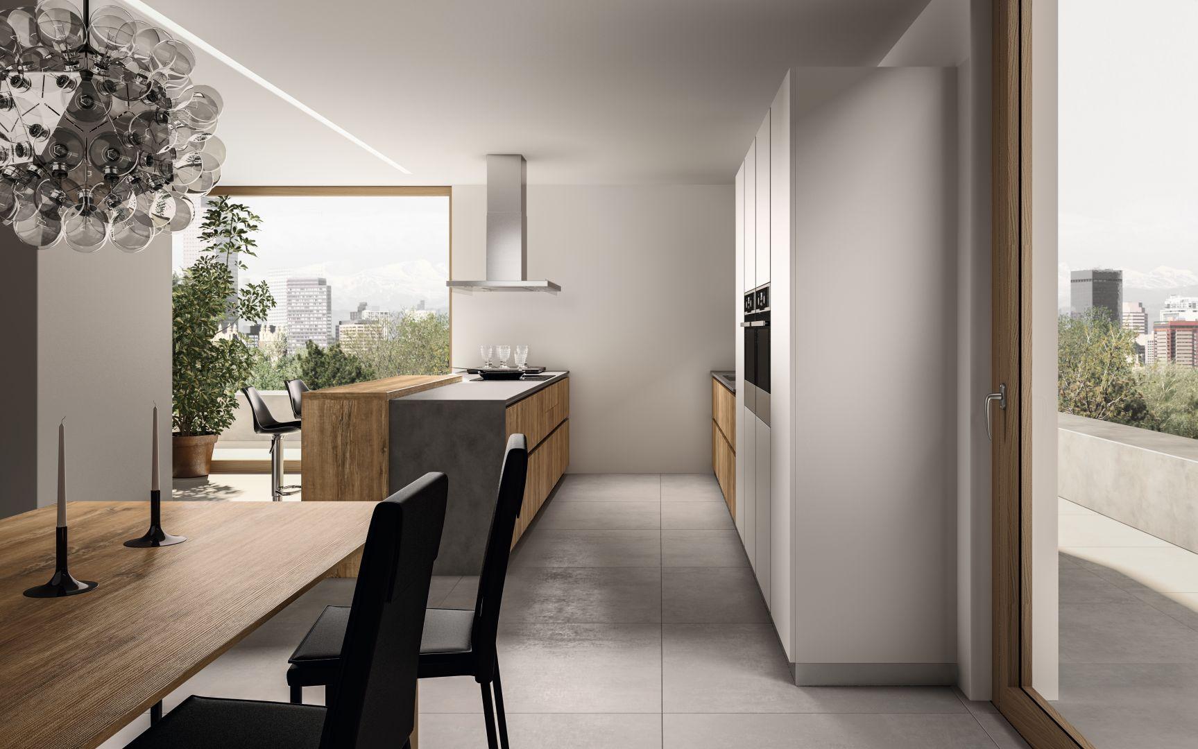 Κουζινα βακελίτη HPL σε υφή ξύλου και λευκή λάκα ματ ral 9003