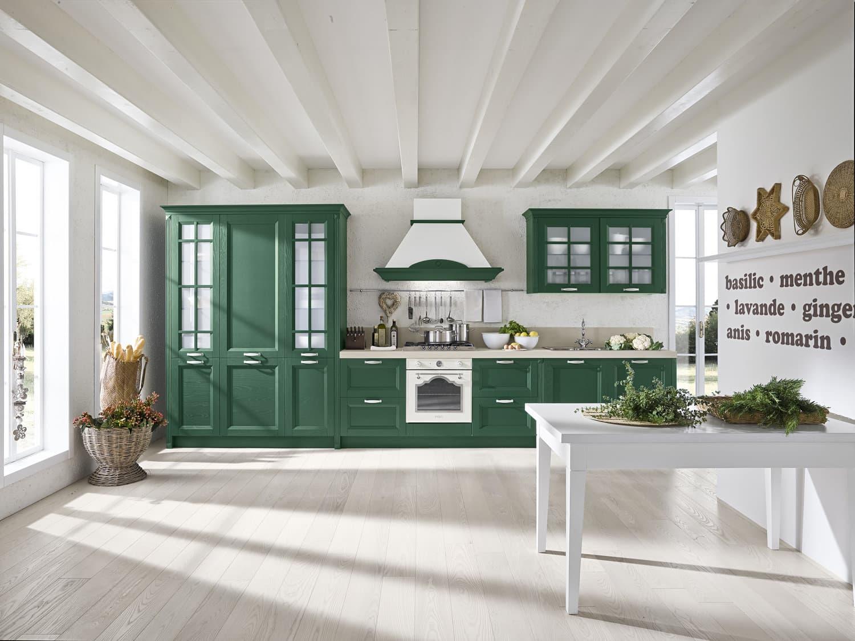 Κουζίνα Country ημιμασίφ πράσινο