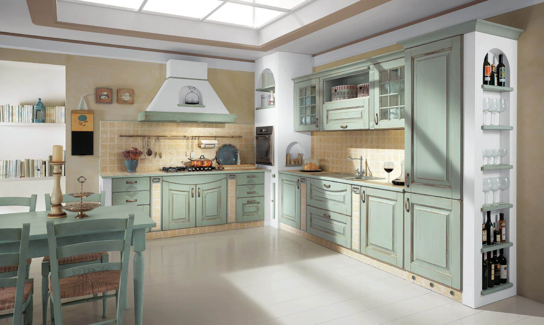 Κουζινα κλασσικη με πατινα EVA κουζινα μασιφ θαλασσί με μπεζ πατίνα