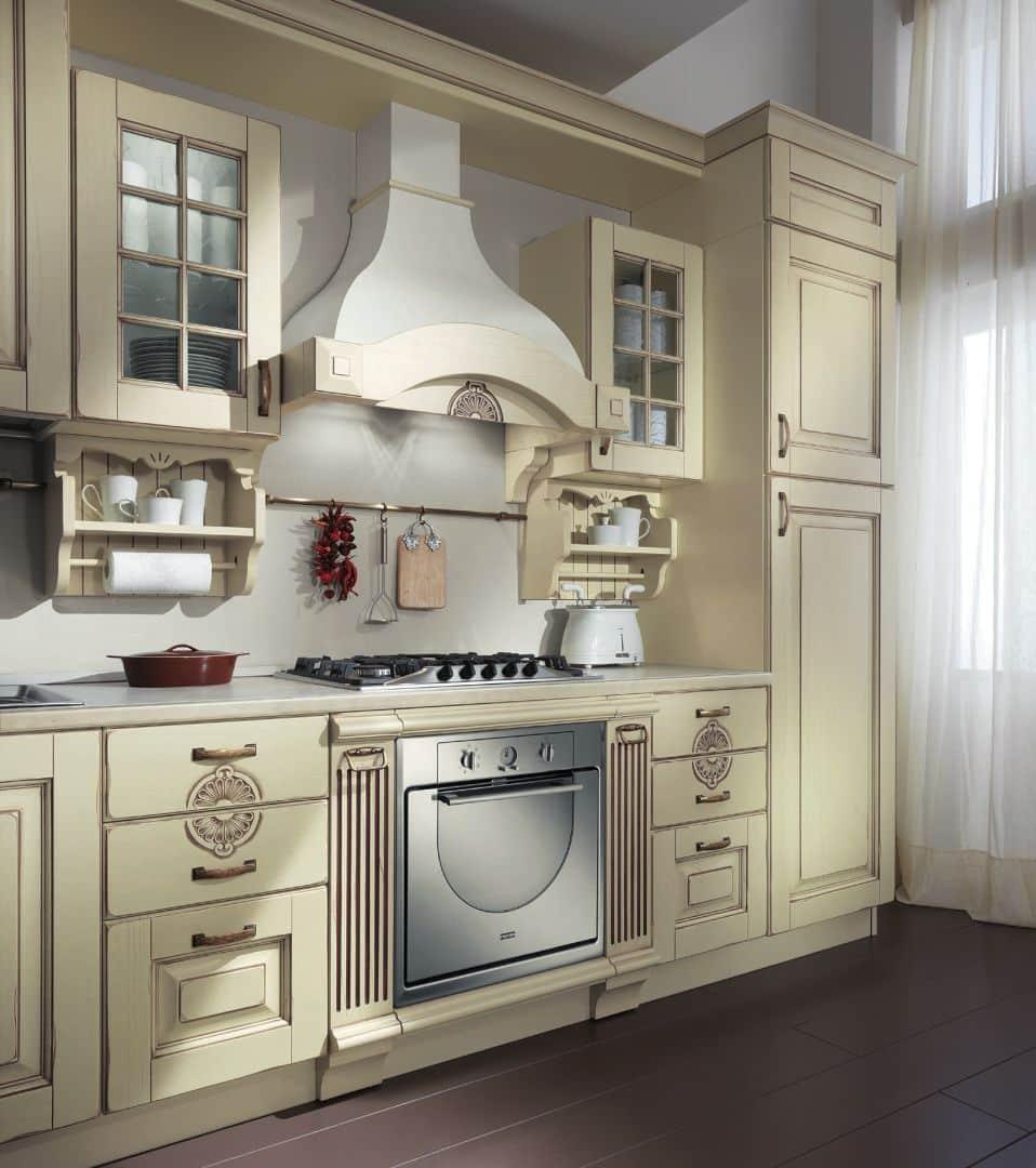EVA κουζινα μασίφ μπεζ με καρυδία πατίνα