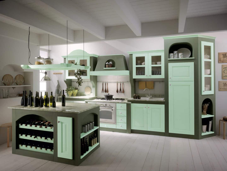 Κουζινα χτιστη Isotta μασίφ κουζίνα πράσινο ντεκαπέ