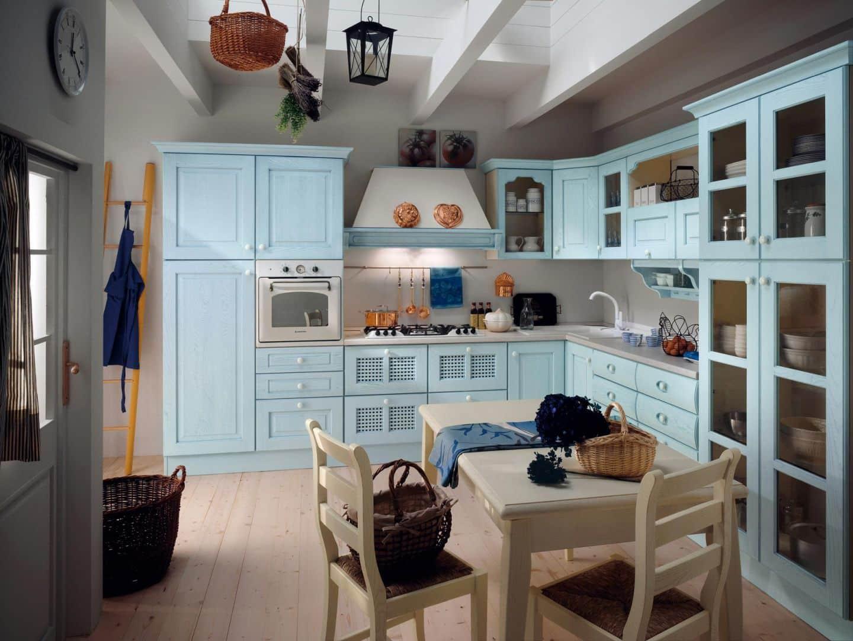 Isotta μασίφ κουζίνα μπλε ντεκαπέ