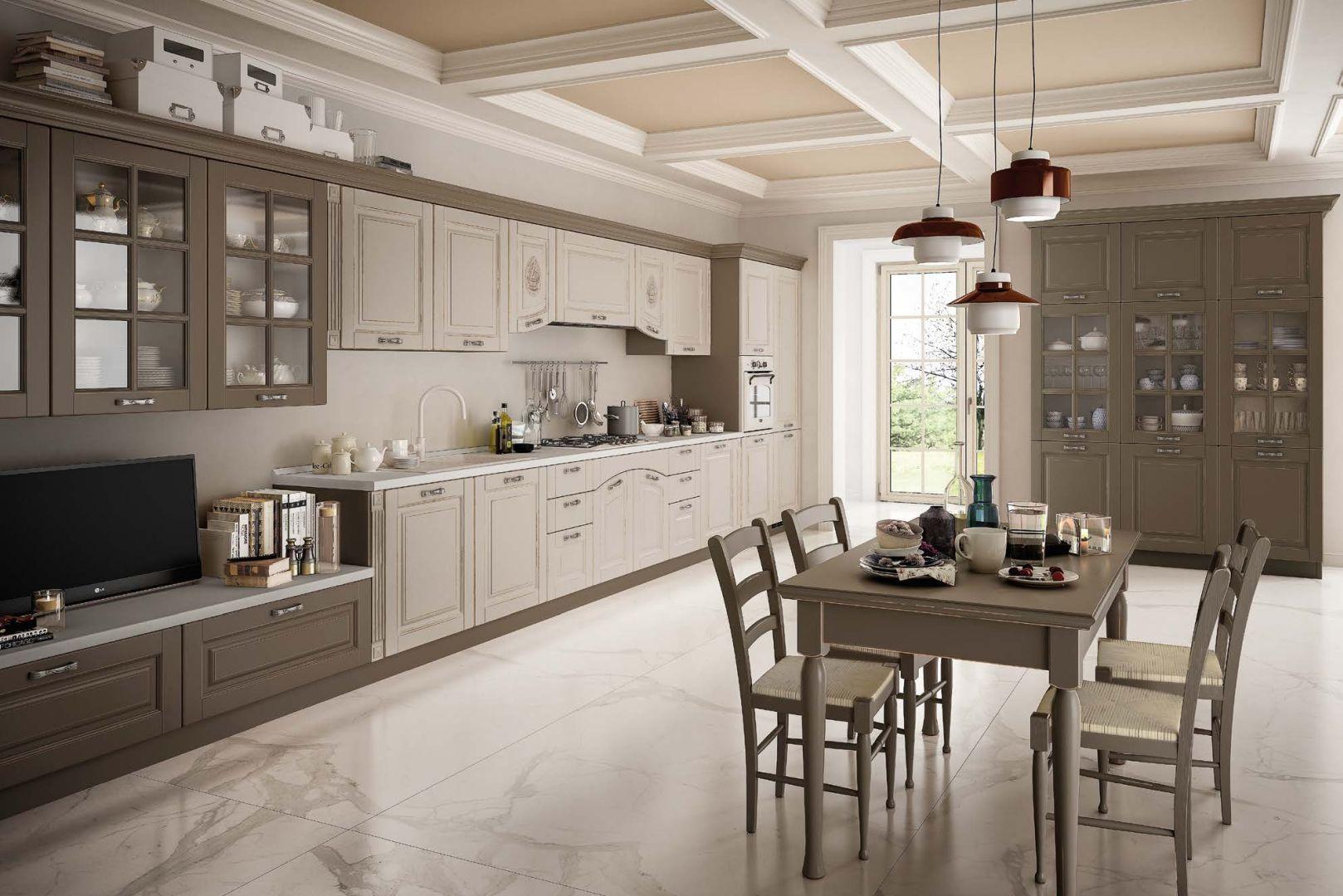 SOFIA μασίφ κουζίνα λαδί με ξέβγαλμα και λευκό ντεκαπέ