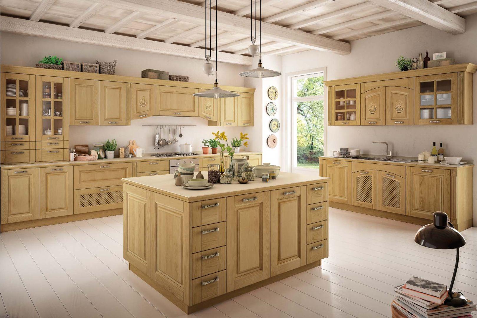 Κουζινα με πατινα SOFIA μασίφ κουζίνα φυσικό δρυς