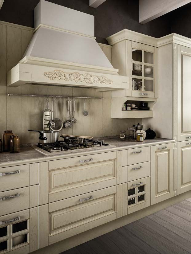 SOFIA μασίφ κουζίνα μπεζ ντεκαπέ