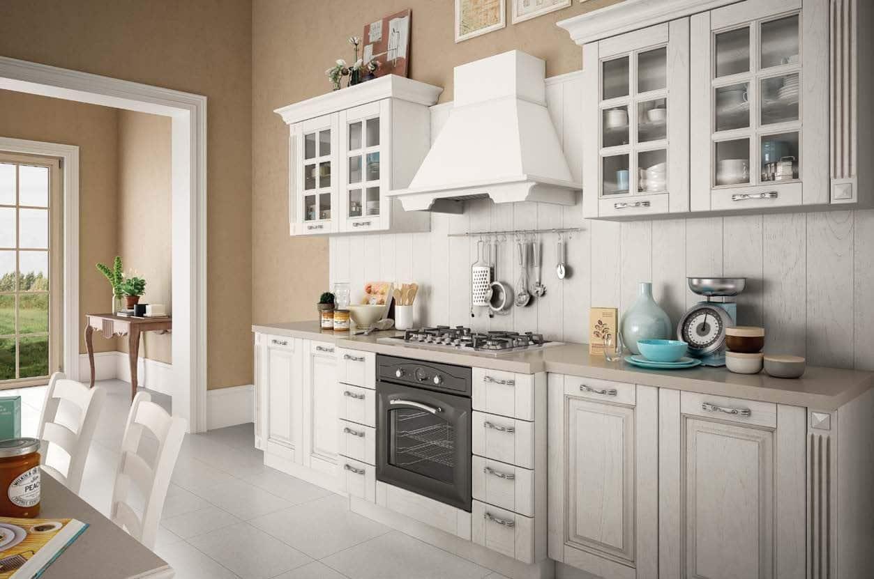 Κουζίνα με πατίνα SOFIA μασίφ κουζίνα λευκό ντεκαπέ