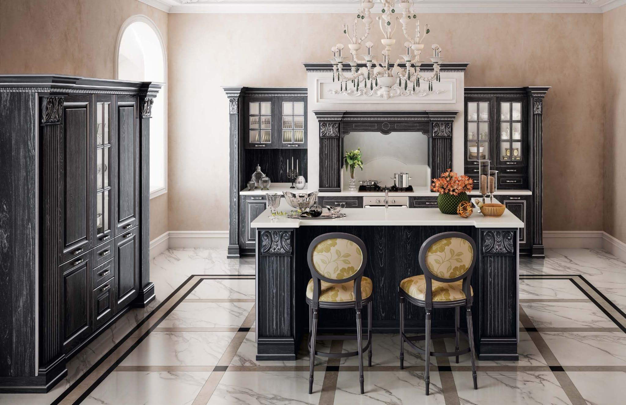 Κουζινα Baroque VITTORIA μασίφ κουζίνα ανθρακί πατίνα ασημί ντεκαπέ