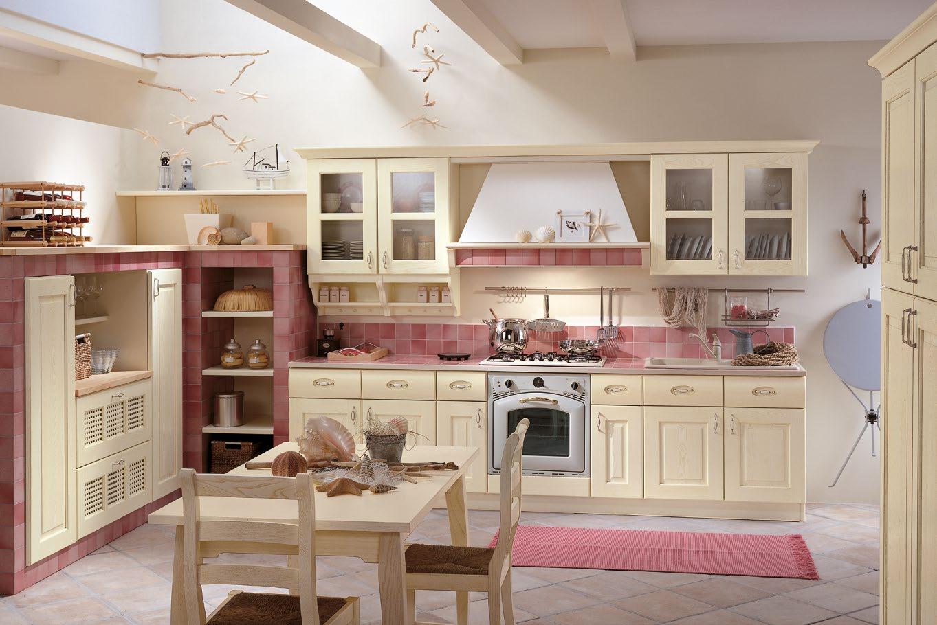 Κουζινα με παγκο πλακακια Valentina Μασίφ κουζίνα μπεζ