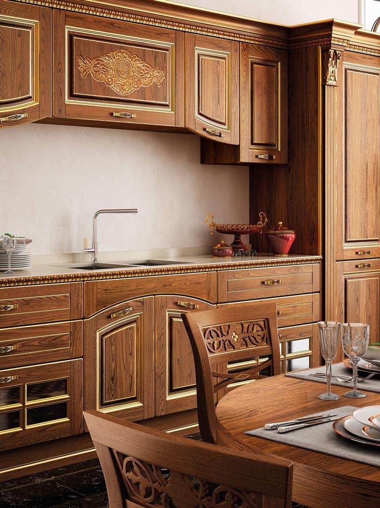 VITTORIA μασίφ κουζίνα καρυδιά με χρυσή πατίνα