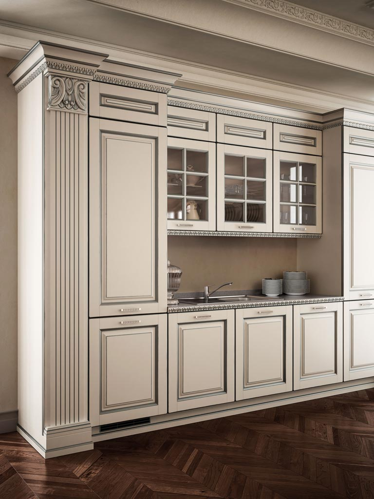 VITTORIA μασίφ κουζίνα άσπρη με ασημί πατίνα