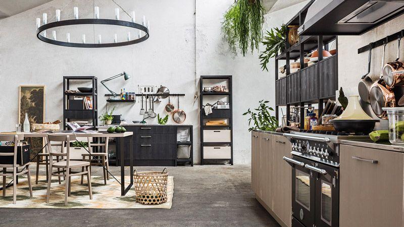μασίφ κουζίνα fly ανθρακί με καφέ