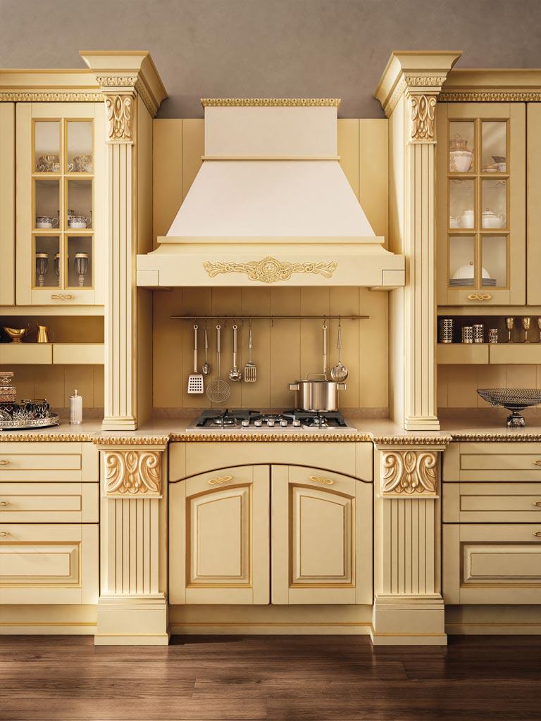 VITTORIA μασίφ κουζίνα λάκα κρεμ με χρυσή πατίνα