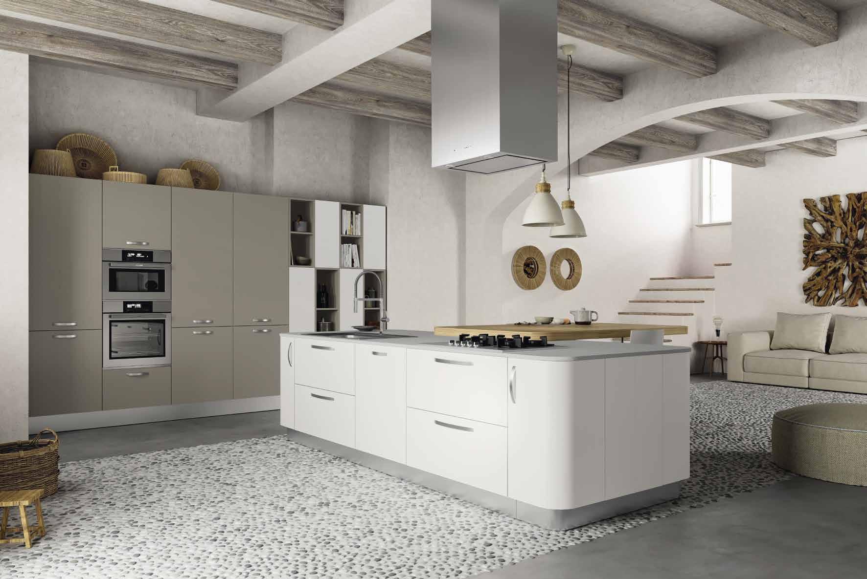 Κουζίνα laminate Λευκό ματ με γκρι ματ βακελιτη με στρογγυλα στοιχεια