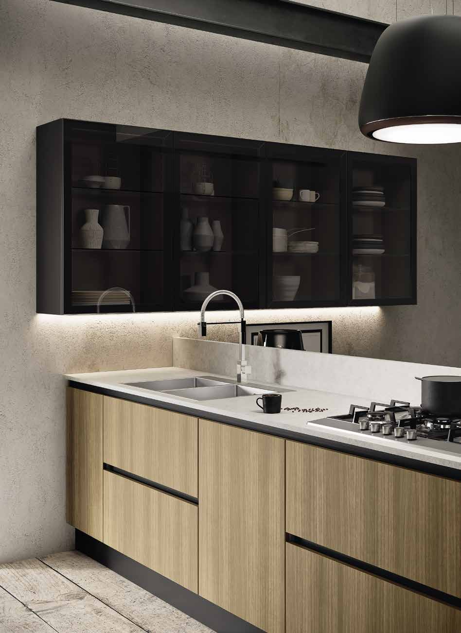 Κουζίνα laminate σε γκρι τιτανιου και γκρι ευκαλυπτου με gola και νησιδα