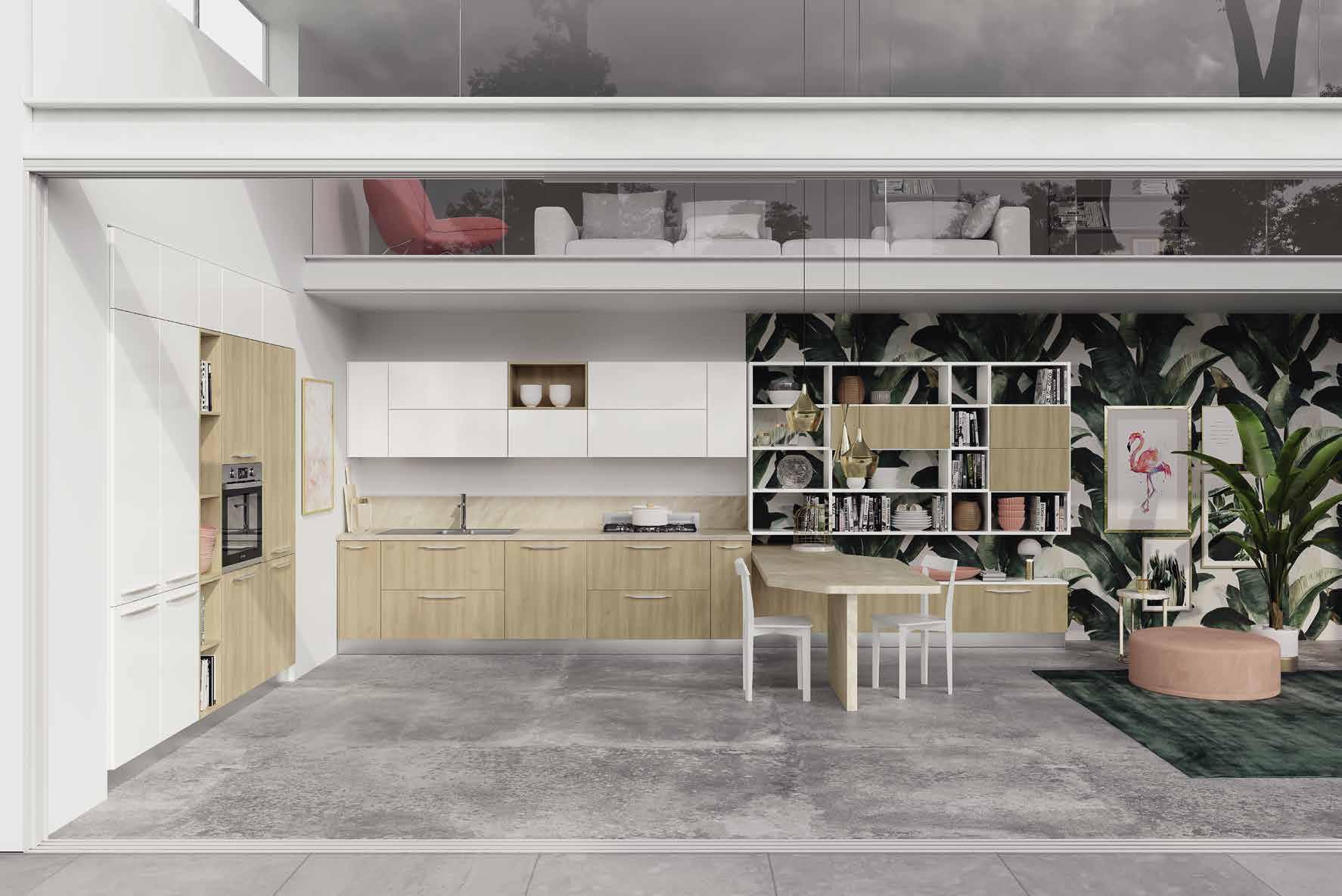 Κουζίνα laminate σε γυαλιστερο λευκο πολυμερικο και κερασια nordico με νησιδα και gola