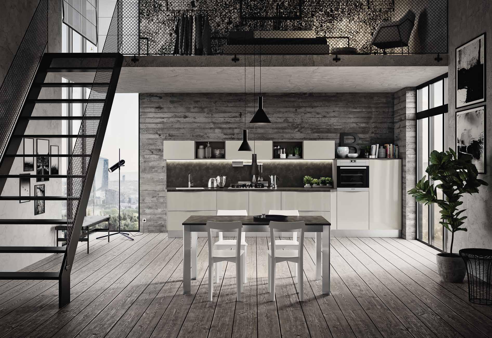 Κουζίνα laminate σε γκρι γυαλιστερο dorian με διαγωνια τοποθετηση πολυμορφικου σχεδιασμου για εξτρα παγκο