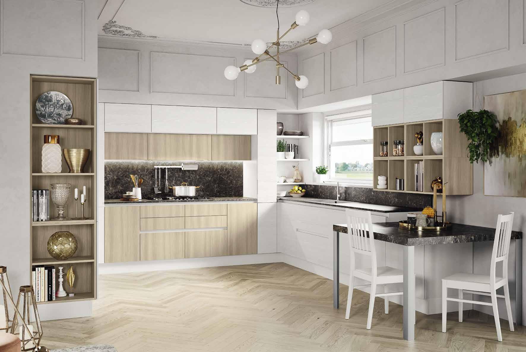 Κουζινα σε γκρι ματ ανοιχτου πορου με νησιδα και στρογγυλα τελειωματα