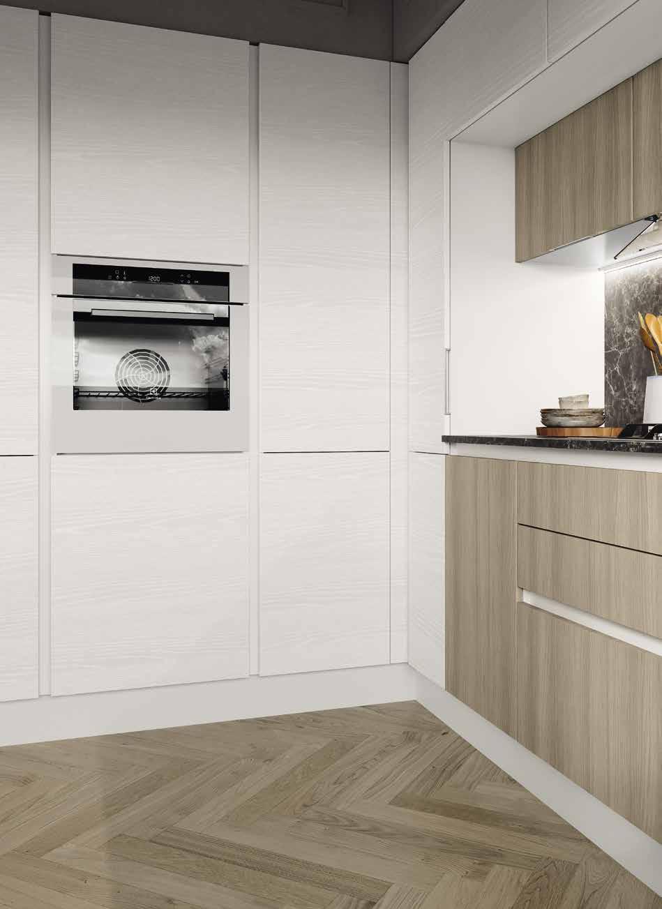 Κουζίνα laminate σε γκρι ματ ανοιχτου πορου με νησιδα και στρογγυλα τελειωματα