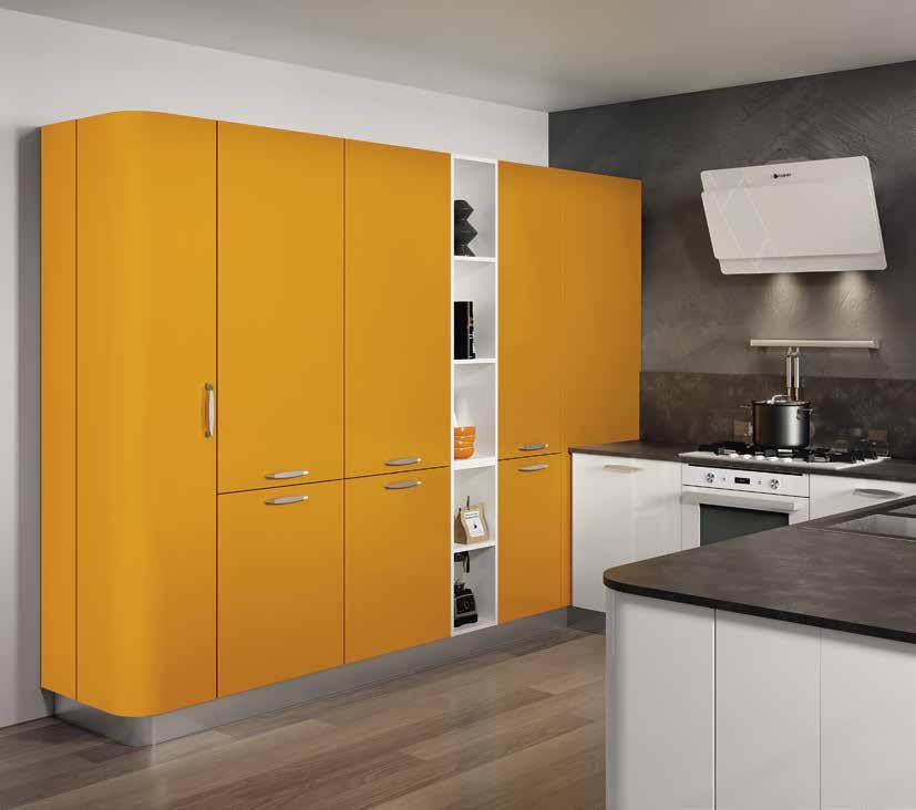 Κουζίνα laminate σε πορτοκαλι ματ και λευκό γυαλιστερό με πάσο και στρογγυλό