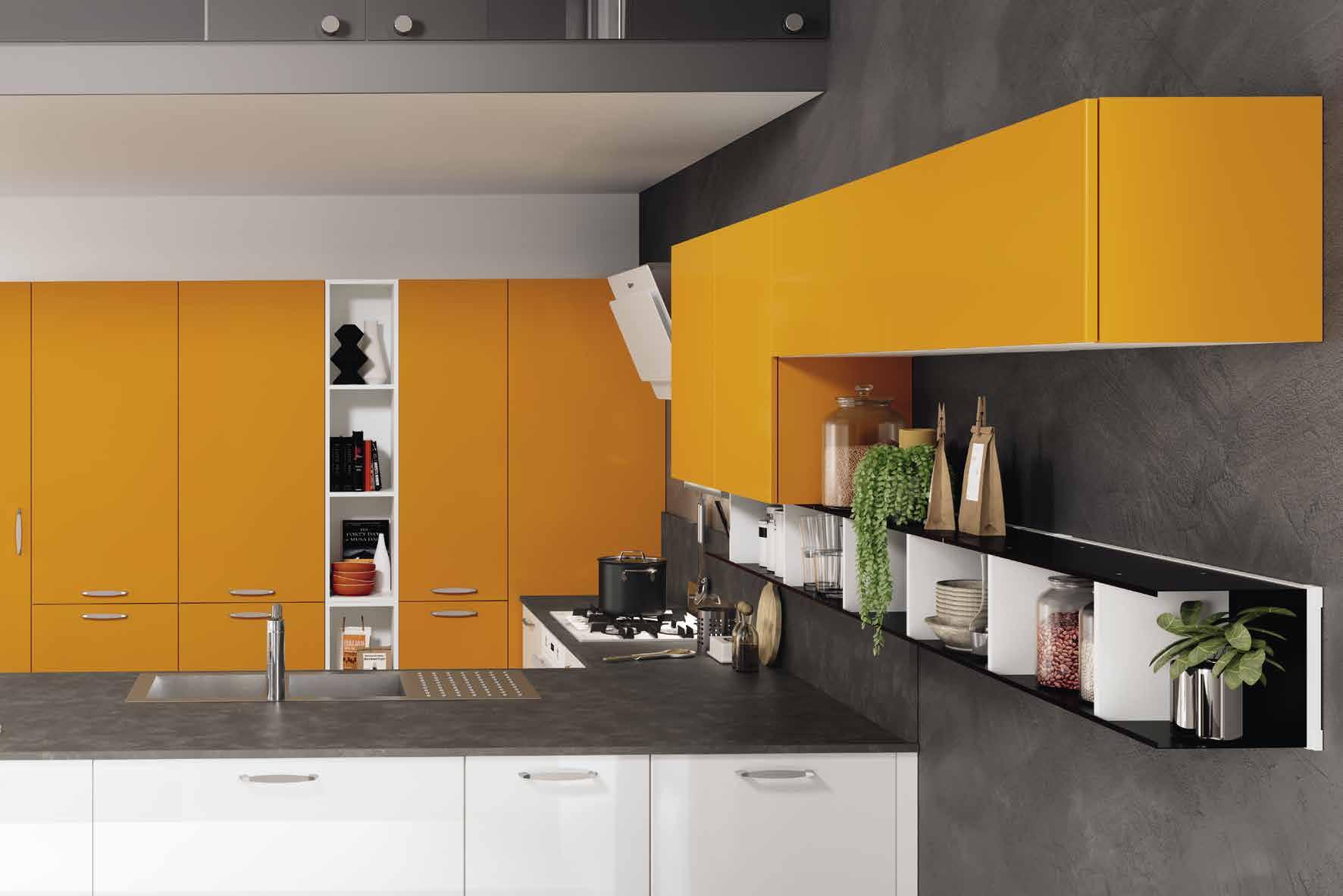 Κουζινα σε πορτοκαλι ματ και λευκό γυαλιστερό με πάσο και στρογγυλό