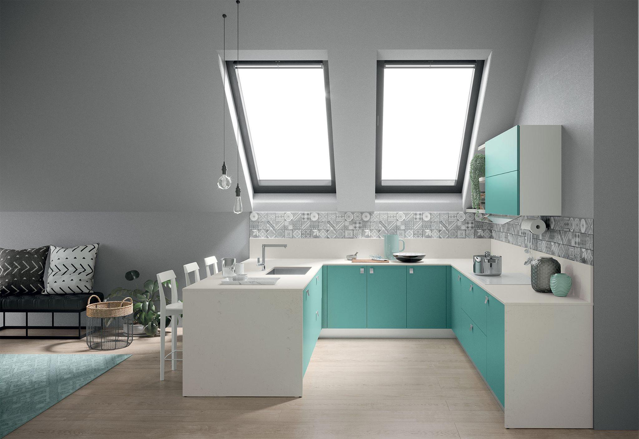 Κουζινα σε πρασινο του οκεανου και λευκο παγκο