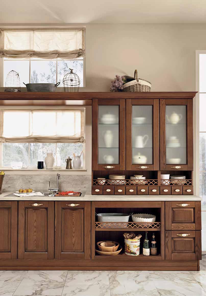 Armonia μασιφ κουζινα καρυδιά σκούρη λεππτομερειες