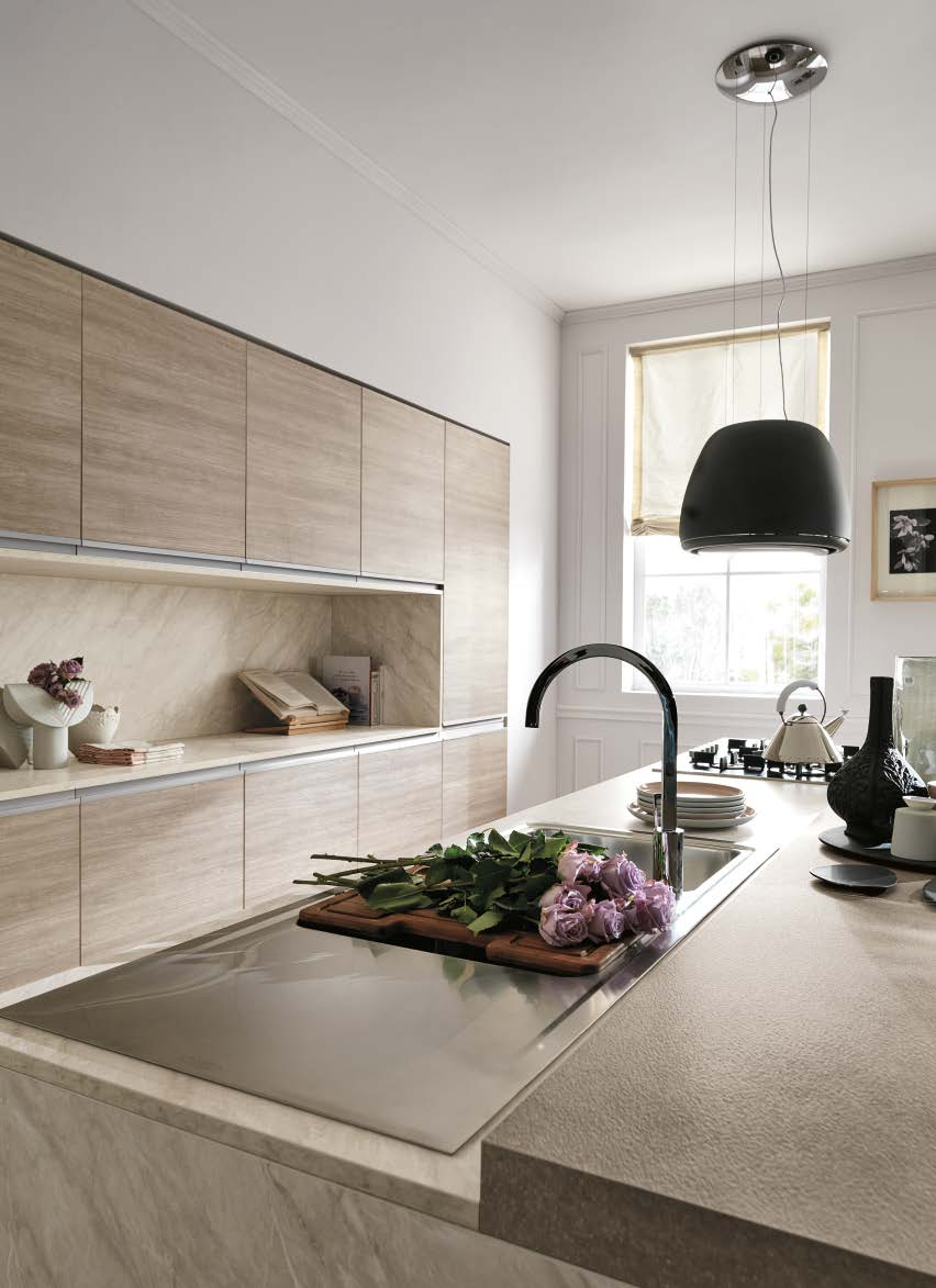 Linea κουζινα με ενσωματωμενη μεταλική λαβή σε μελαμίνη και λάκα λεπτομερειες