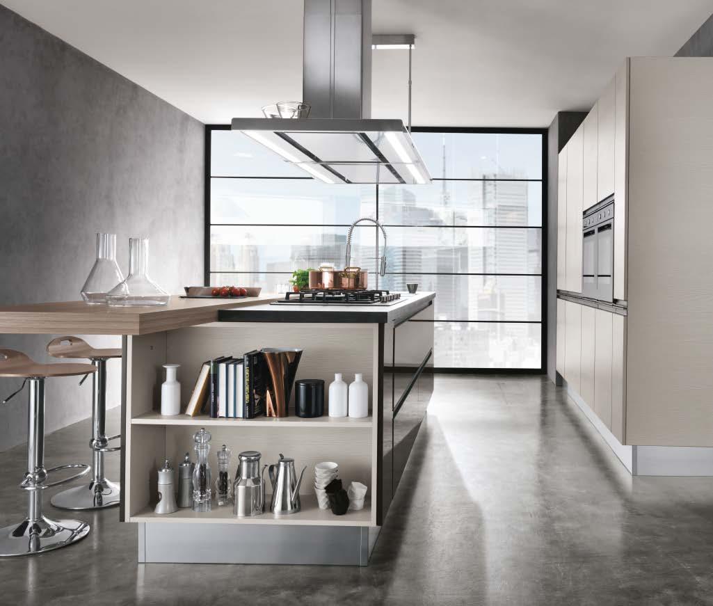 Linea κουζινα με ενσωματωμενη μεταλική λαβή σε γκρι γυαλιστερη λάκα και μελαμινη σε υφη ξυλου
