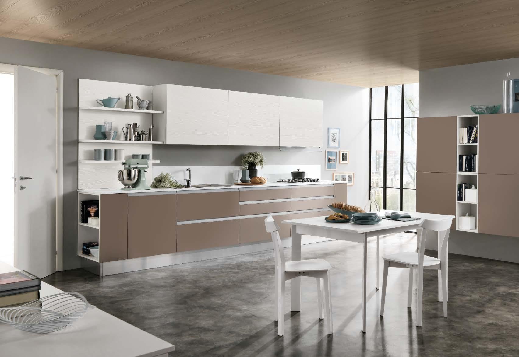 Linea κουζινα με ενσωματωμενη μεταλική λαβή σε καφε ματ λάκα και μελαμινη σε υφη ξυλου λεπτομερειες