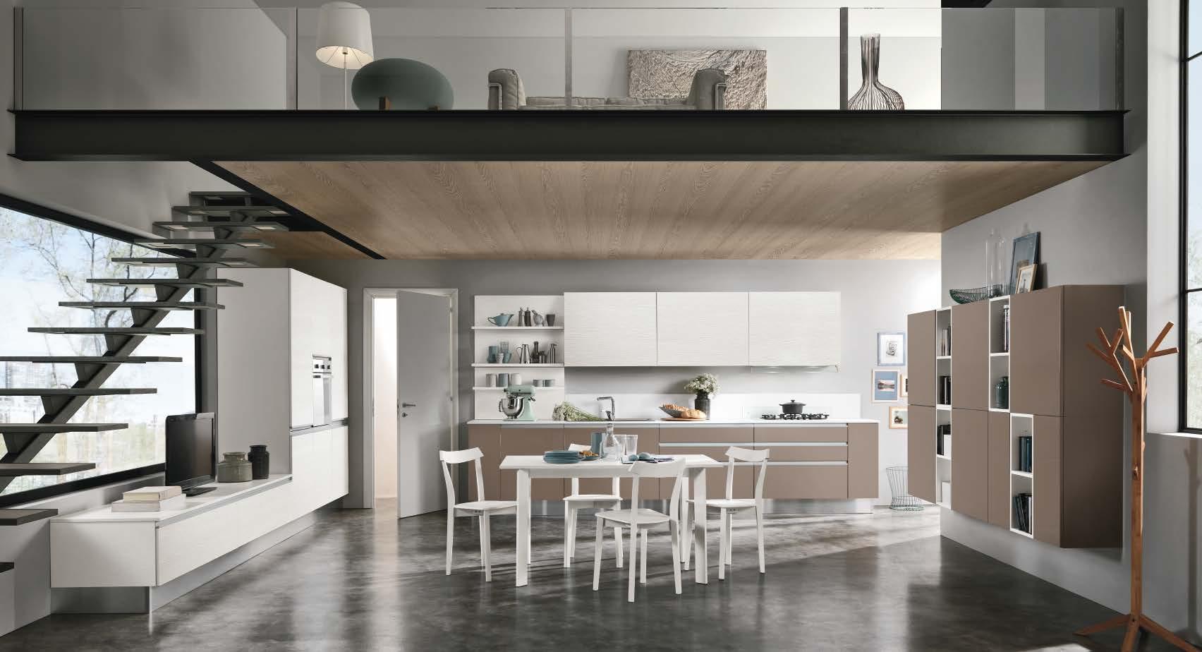 Linea κουζινα με ενσωματωμενη μεταλική λαβή σε καφε ματ λάκα και μελαμινη σε υφη ξυλου