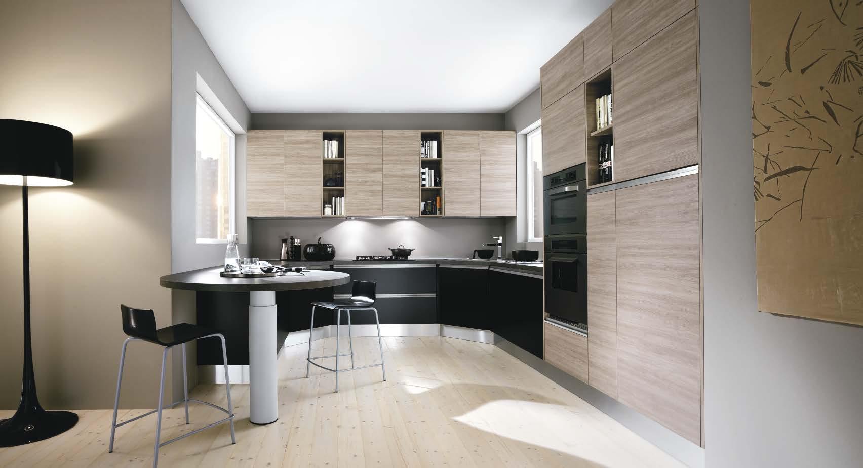 Linea κουζινα με ενσωματωμενη μεταλική λαβή σε μαυρη ματ λάκα και μελαμινη σε υφη ξυλου