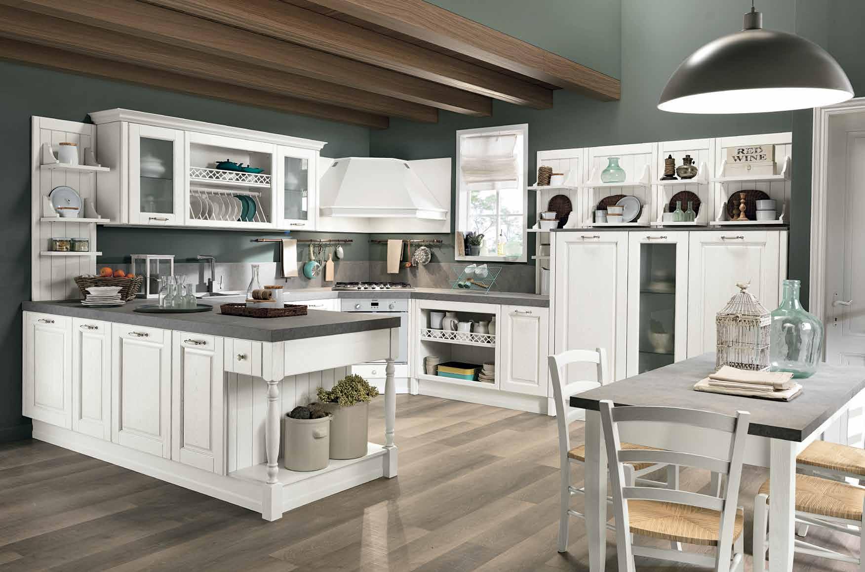 Κουζίνα μασιφ Opera σε λευκό χρωματισμο