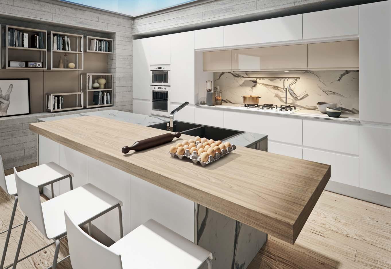 Πολυμερικη κουζινα λευκο γυαλιστερο και καφε γυαλιστερο με παγκο βακελιτη σε μαρμαρο calacatta