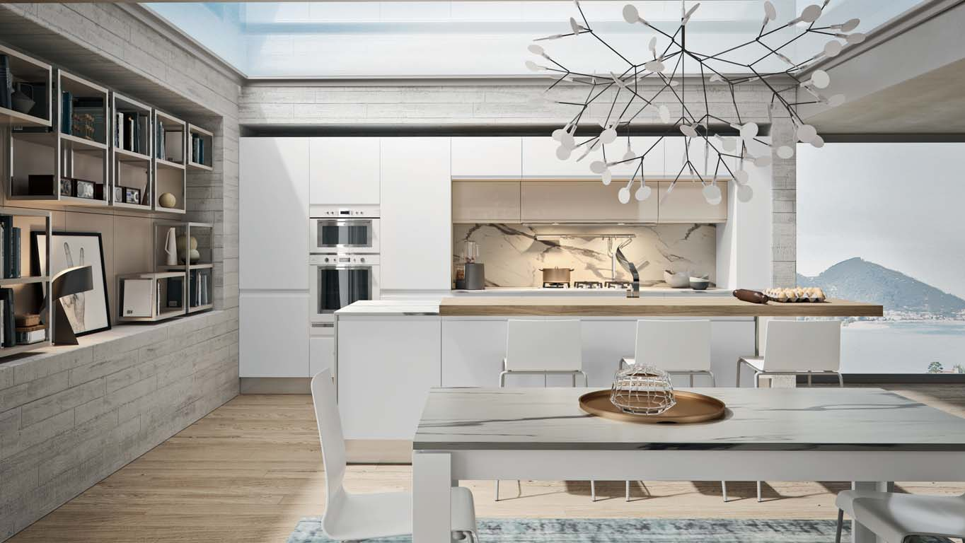 Κουζινα σε πολυμερικο λευκο γυαλιστερο και καφε γυαλιστερο με παγκο βακελιτη σε μαρμαρο calacatta