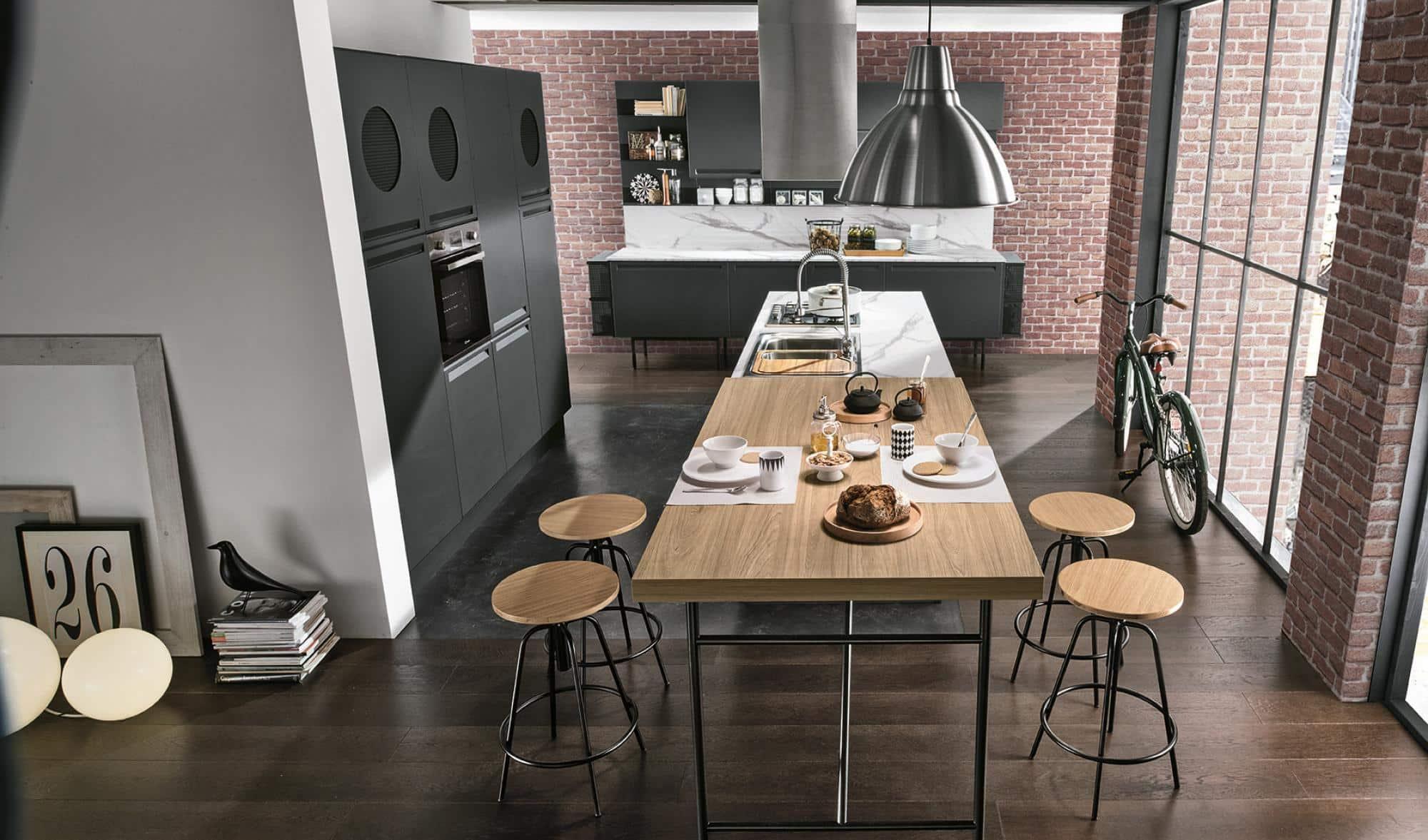 Isla κουζινα πολυμερικο με ενσωματωμενη λαβη και ρετρο υφος λεπτομερειες