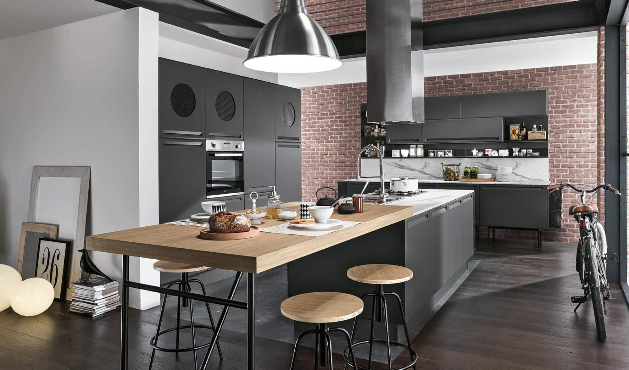 Isla κουζινα γκρι πολυμερικο με ενσωματωμενη λαβη και ρετρο υφος