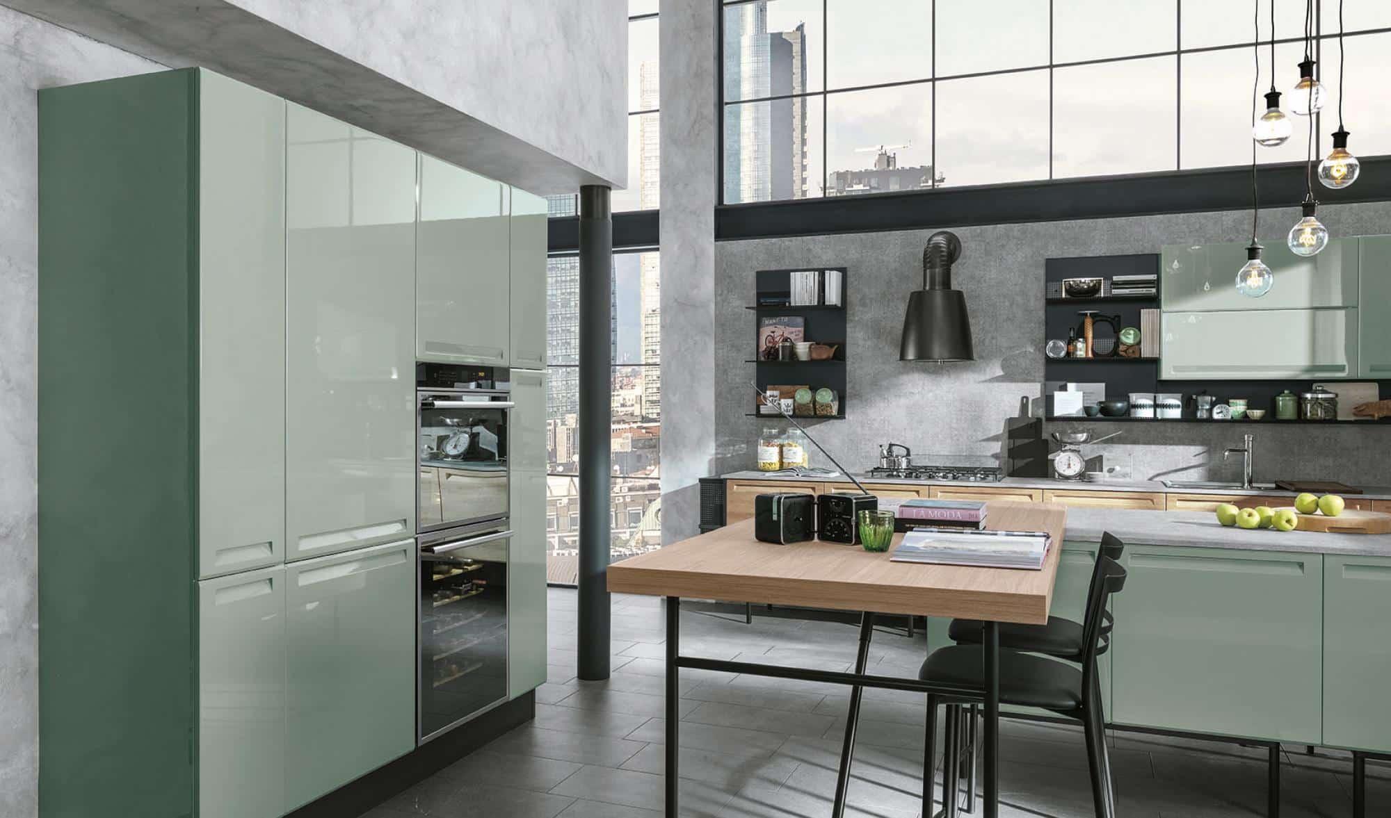 Isla κουζινα βεραμαν πρασσινο πολυμερικο με ενσωματωμενη λαβη και ρετρο υφος